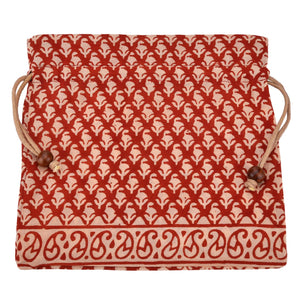 Handcrafted Block Print Gift Bag (039) - Cream/ Red