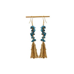 Handcrafted Turquoise Blue Brass Beaded Earrings
