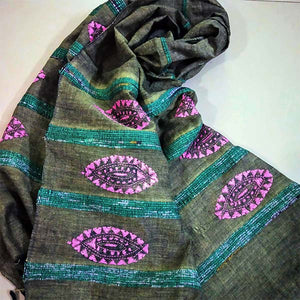 Handloom Khesh Cotton Kantha Embroidered Stole - Moss Green & Pink