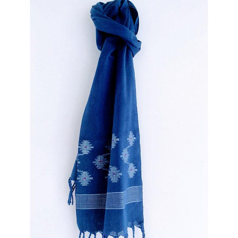 Blue Cotton Mulmul Jamdani Stole Handwoven by Traditional Artisans