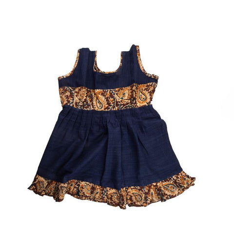 Handloom Pure Cotton Baby Frock (Blue)