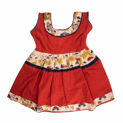 Handloom Pure Cotton Baby Frock (Red)