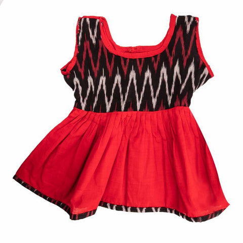 Handloom Pure Cotton Baby Frock (Red & Black)