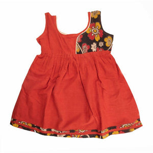 Handloom Pure Cotton Baby Frock ( Light Red)