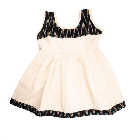 Handloom Pure Cotton Baby Frock (White)