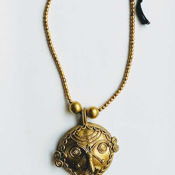 Handmade Dokra Round figurehead Pendant set on brass beads