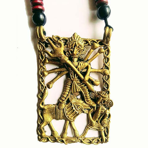 Handmade Large Dokra Durga Pendant on Maroon Black Wooden Beads