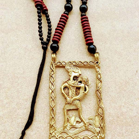 Handmade Mother Child Large Dokra Pendant set on Maroon black Wooden Beads