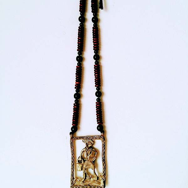 Handmade Pitcher Man Large Dokra Pendant set on Maroon black wooden Beads