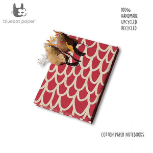 Handmade Paper Notebook - Dull Red With Beige 'U' Print