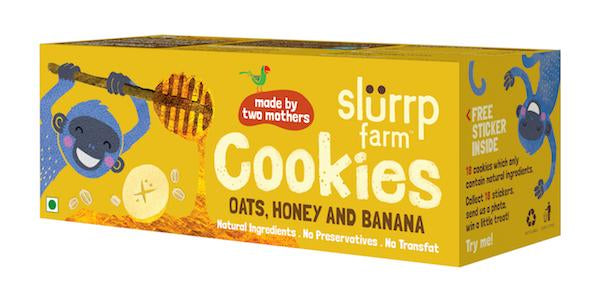 Healthy Wholegrain Cookies - Oats, Banana and Honey with Zero Transfat (Pack of 3) - 225g