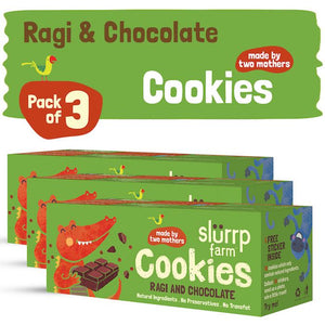 Healthy Wholegrain Cookies - Ragi and Chocolate with Zero Transfat (Pack of 3) - 225g