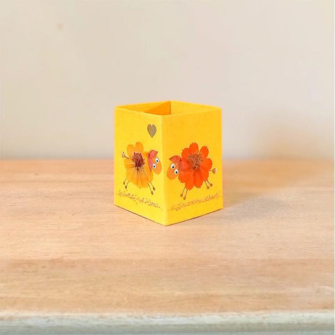 Handcrafted Pencil Holder with Handpressed Flowers (Yellow Lamb)