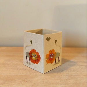 Handcrafted Pencil Holder with Handpressed Flowers (Brown Lion)
