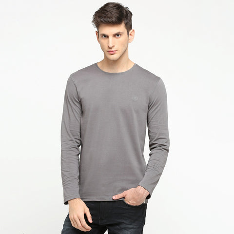 100% Organic Cotton Full Sleeve T-shirt - Genial Grey