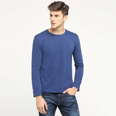 100% Organic Cotton Full Sleeve T-shirt - Blissful Navy