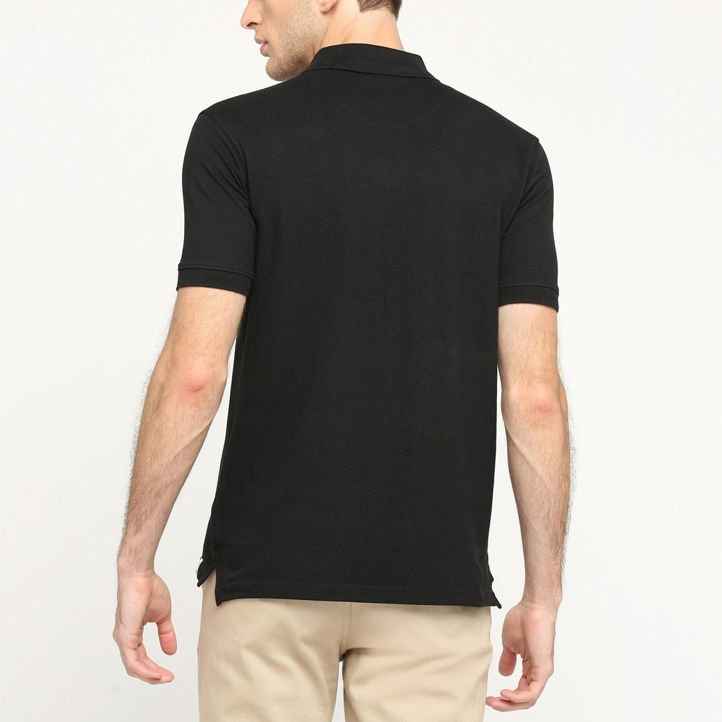 100% Organic Cotton Polo Neck T-shirt (Passion Black)