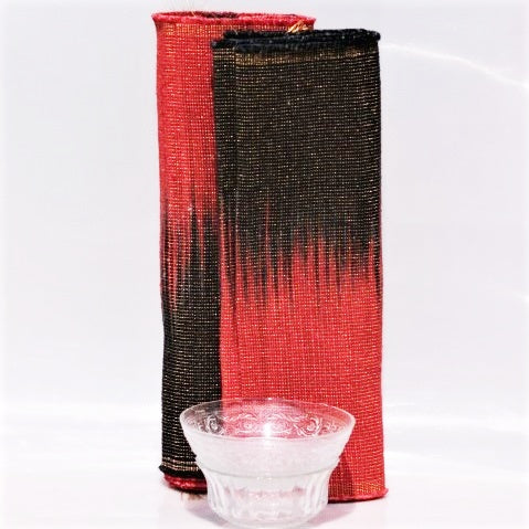 Set of Handwoven Hibiscus Fibre Runner and 6 Placemats (Red and Black)