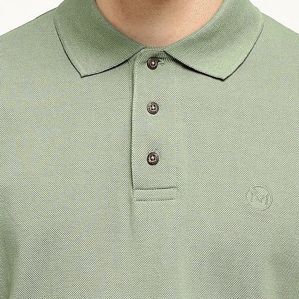 100% Organic Cotton Polo Neck T-shirt - Meraki Green