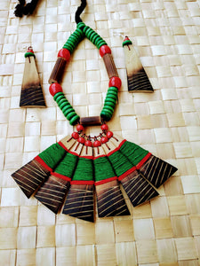 Handmade Green Red Bamboo Tribal jewellery set