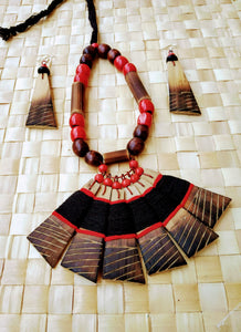 Handmade Black Red Bamboo Tribal jewellery set