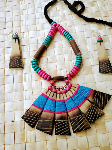 Handmade Blue Pink Bamboo Tribal jewellery set
