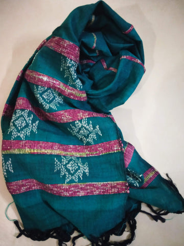 Handloom Khesh Cotton Kantha Embroidered Stole - Green