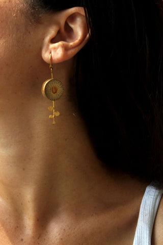 Rhea Handcrafted Gold Earrings (RG-1) in Bamboo and Gold-plated Brass