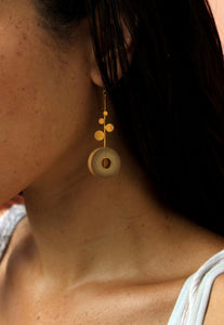 Rhea Handcrafted Gold Earrings (RG-2) in Bamboo and Gold-plated Brass