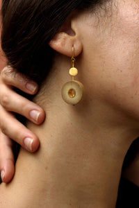 Rhea Handcrafted Gold Earrings (RG-4) in Bamboo and Gold-plated Brass