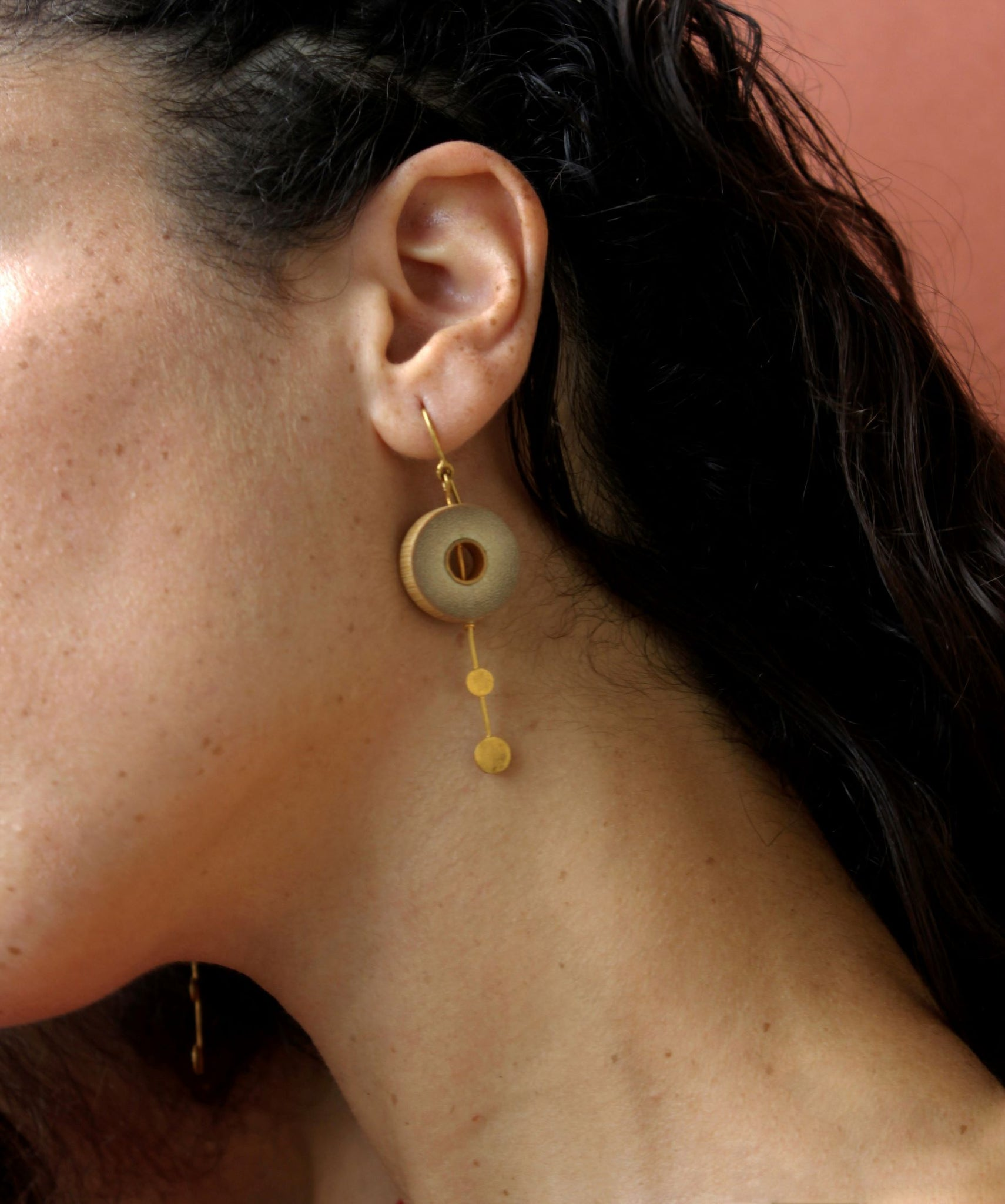 Rhea Handcrafted Gold Earrings (RG-5) in Bamboo and Gold-plated Brass