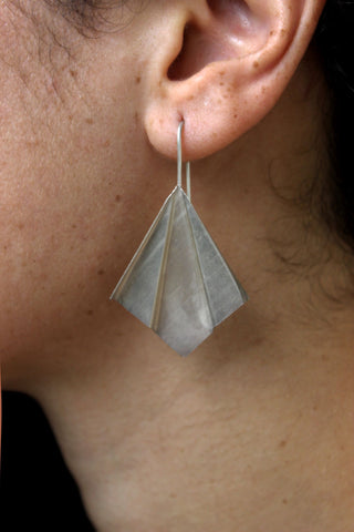 Garvi Handcrafted Large Silver Earrings (GLS-4)