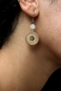 Rhea Handcrafted Silver Earrings (RS-4) in Bamboo and Silver