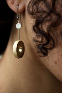 Rhea Hadcrafted Silver Earrings (RS-3) in Bamboo and Silver