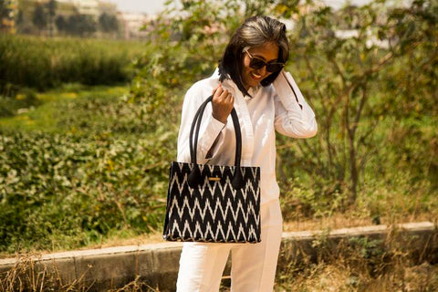 Handwoven Ikat Box Handbag - Black