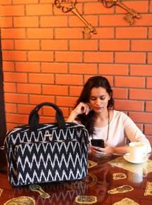 Handwoven Ikat Laptop Bag - Black