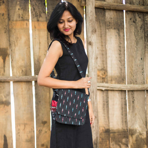 Handwoven Ikat Sling Bag - Black