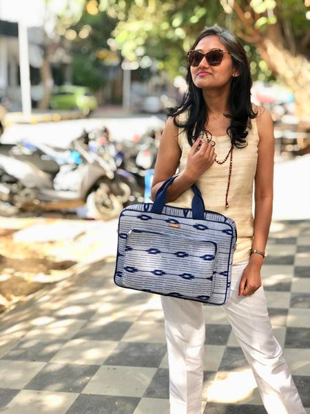 Handwoven Ikat Laptop Bag - Blue and Grey