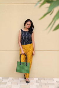 Handwoven Mangalagiri Box Bag - Green Checks