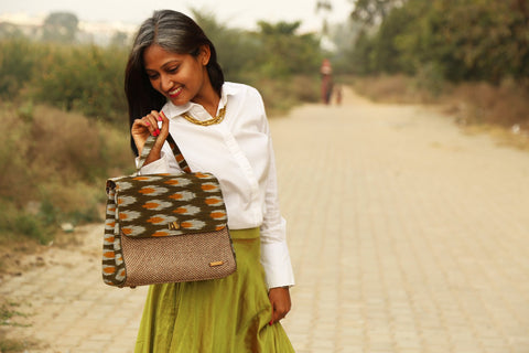 Handwoven Ikat and Jute Bag - Green and Mustard