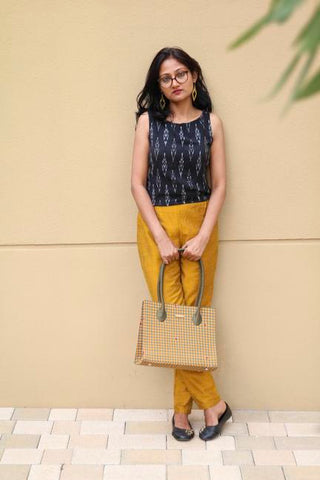 Handwoven Mangalagiri Box Bag - Mustard Checks