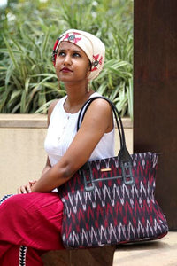 Handwoven Cotton Ikat Tote Bag - Red and Black
