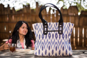 Handwoven Blue and White Ikat Tote Bag