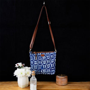 Upcycled Indigo Sling Bag - Rectangle Pattern
