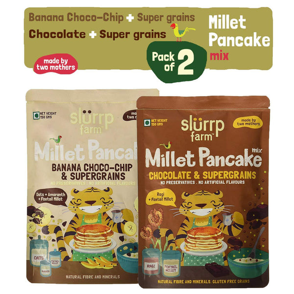 Instant Breakfast Millet Pancake Mix Combo Pack - Banana Choco-Chip, Supergrains and Chocolate - 300g (Pack of 2)