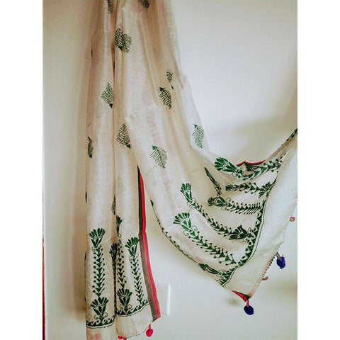 Chanderi Silk Kantha Stole Handwoven by Traditional Artisans - Ivory White Green
