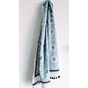 Floral Kantha Stole with Black Tassels Handwoven by Traditional Artisans - Ivory White and Blue