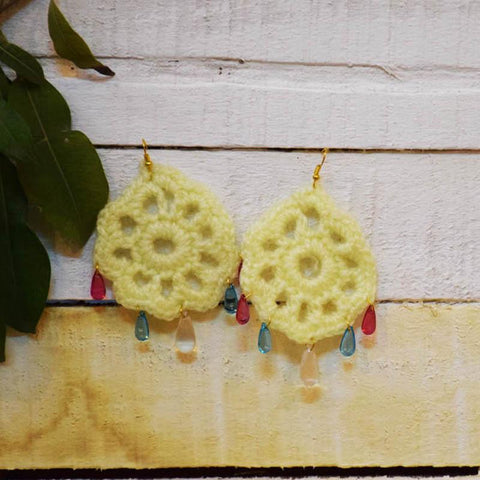Off-White Jali Crochet Earrings Handcrafted by Women Artisans of Varanasi