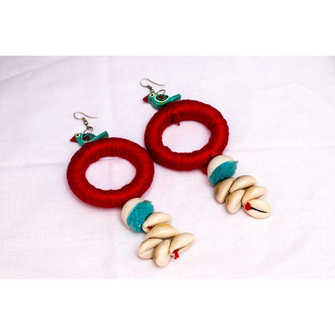 Handmade Wooden Round Earrings - Jhilik