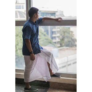 Men's Handwoven Khadi Dhoti - White with Blue Border